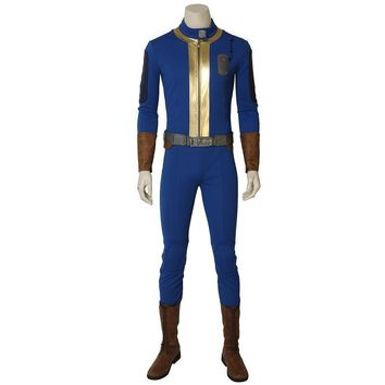 Hot Game Fallout 4 Fallout 76 Vault 76 Cospaly Sole Survivor Deacon Costume Halloween Outfit Full Set with Boots Custom Made