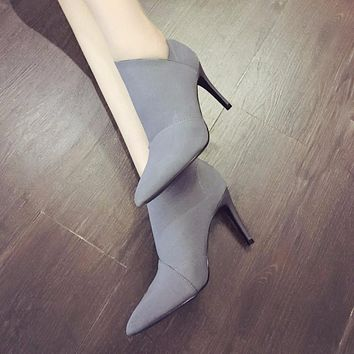 High-Heeled, Pointed-Toe Boots