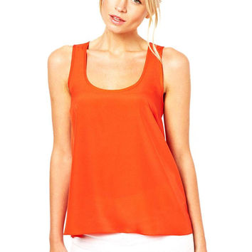 Orange Sleeveless Hollow Back Tank Top
