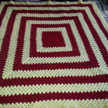 "Vintage Hand Afghan Crochet Knit Throw Blanket - with Repeating Square Pattern - 54"" x 54"""