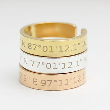 Coordinates Ring / Latitude Longitude Ring / Personalized Latitude Longitude Jewelry / Location Ring/adjustable ring