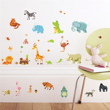 Jungle Forest Animals Wall Stickers for Kids Rooms Safari Nursery Rooms Baby Home Decor Poster Monkey Wall Decals Wallpaper