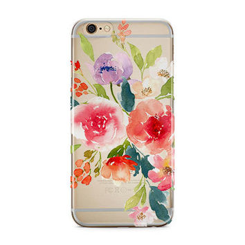 Gift for sister, Iphone 7 clear case with design, Unique Iphone 7 plus case with clear back, Pink coral purple bouquet, Gift for her  (1737)