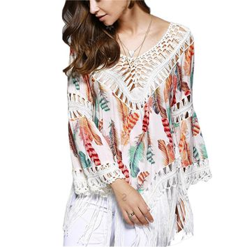 Sexy women feather print Swimwear dress Crochet cover-ups beach Cover Up Bikini Cover Ups Knitting Swimsuit dress