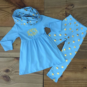 Blue Gold Polka Dot Outfit With Infinity Scarf