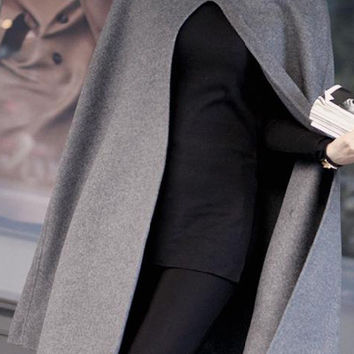 Grey Hooded Cloak Coat