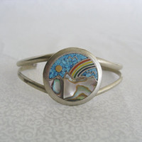 Silver rainbow and mountain bracelet/vintage cuff/turquoise and abalone/nature scene bracelet/hippie bohemian jewelry