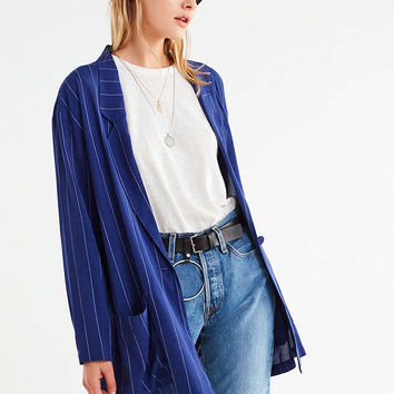 Silence + Noise Pinstripe Long Blazer | Urban Outfitters
