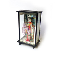 Vintage 1960s Japanese shadow box diorama of Geisha