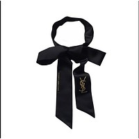 YSL Black filament silk scarf belt