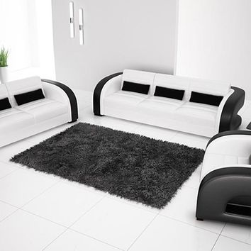Free Shipping 2013 New Classic Black & White Genuine Leather Solid Wood Frame Modern Sofa Set  living room furniture 9122-1