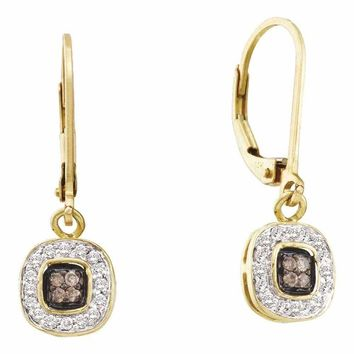14kt Yellow Gold Women's Round Cognac-brown Color Enhanced Diamond Square Cluster Dangle Earrings 1-4 Cttw - FREE Shipping (USA/CAN)