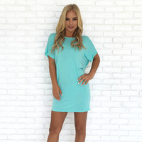 Simply Crossed Jersey Dress In Mint