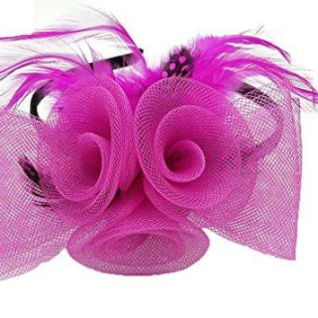 Fascinator Feather Rose Flower Cocktail Party Hair Clip Bridal Derby Headband
