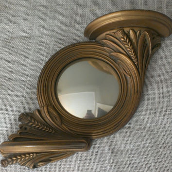 Syroco Mirror Shelf Domed Gold Ornate 1940's Wall Hanging Regency Wheat Easter Religious Prairie Art Decor FREE SHIPPING