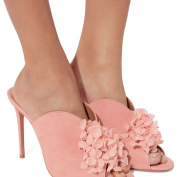 Lily Of The Valley Suede Mules