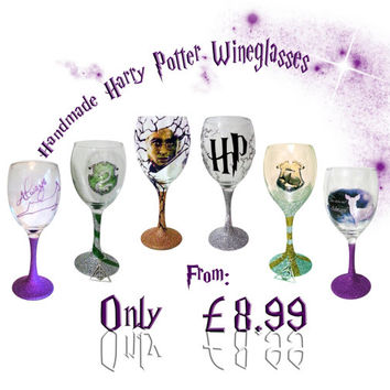 Hand made Harry Potter Glitter wine glass.......MADE TO ORDER