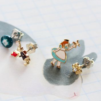 Alice in the Wonderland Cute Fashion Earrings Jewelry