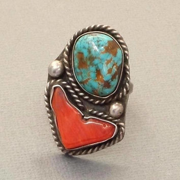 Vintage Large Turquoise RING Native American Jewelry, Sterling NAVAJO Rings Men, Red Coral Spiderweb Turquoise, Size 8 1/2, Christmas Gift
