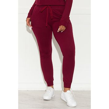 Set You On Track Jogger  Burgundy