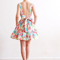 Open-back Floral Print Cotton Dress - More Colors Available