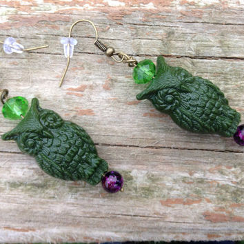 Green and purple owl dangle earrings in antique brass - owl jewelry - owl earrings - holiday - stocking stuffers -christmas -women's - teens