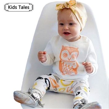 ST189 2018 New arrival girl & boys clothes set long sleeve+Pants owl pattern set of clothes newborn baby suit children clothing