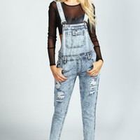 Leonie Ice Wash Distressed Dungarees