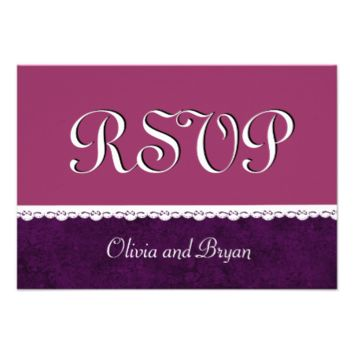PURPLE Damask and White Lace Wedding RSVP Z03 Personalized Invitations