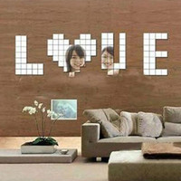New Fashion 100pcs 2x2cm Bling Bling Acrylic 3D Wall Sticker Mosaic Mirror Effect Sofa Room Home Decor