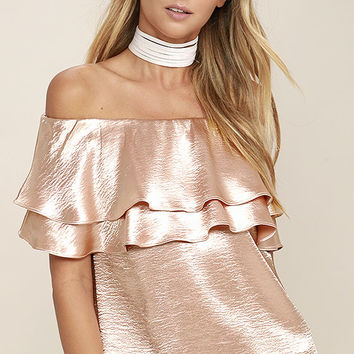 Time to Shimmer Blush Pink Satin Off-the-Shoulder Top