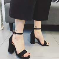 Top Summer Women's sandals 2017 Zapatos Mujer Ankle Strap Women Sandals Open Toe Heels Ladies Sandals with Heels Black Apricot