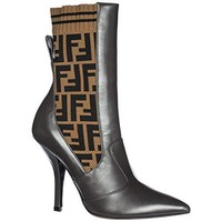 Fendi Women's Leather Heel Boots rockoko Brown