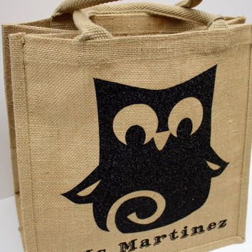 Tote, gift bag - Custom/personalized jute tote with adorable owl print.