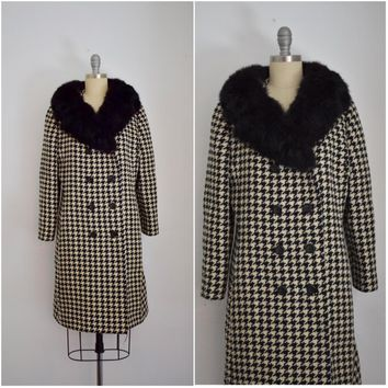 Vintage Milano Off White Tweed Black and White Coat