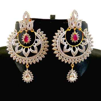 Bollywood Style Chandelier Earring/American Diamond earrings/CZ Bridal Earring/Anniversary Gift/Wedding Chandelier Earrings/CZ Jewelry-ADE22