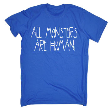 123t USA Men's All Monsters Are Human Funny T-Shirt