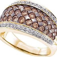 White And Brown Round Cognac Diamond Ladies Fashion Bridal Ring in 14k Gold 1.51 ctw