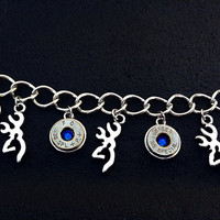 Bullet jewelry. Browning deer and bullet casing charm bracelet.