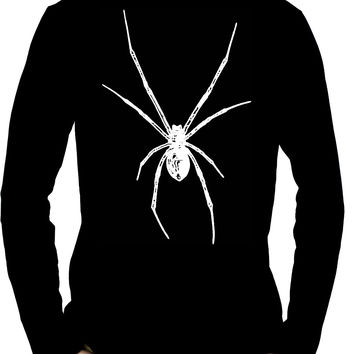 Black Widow Spider White Print Long Sleeve Shirt Halloween Horror Wear
