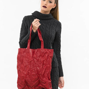 Red leather handbag, Work bag, Leather tote bag, Ladies leather bag, Minimalist leather purse, Laptop women bag, Everyday leather tote