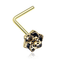 Golden Color Camellia Flower Filigree Icon L-Shaped Nose Ring - 20 G - Sold as a Pair