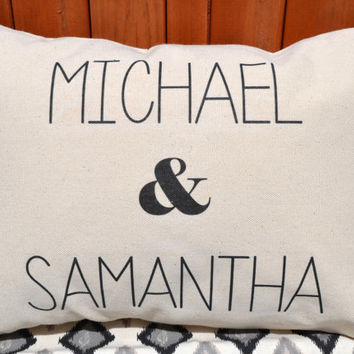 Cotton anniversary, Personalized pillow, Mr. & Mrs. pillow, couples gift, ampersand pillow, newlywed pillow, 2nd Anniversary Pillow -m+s-
