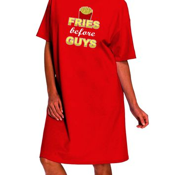 Fries Before Guys Dark Adult Night Shirt Dress by TooLoud