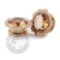 Lotus Amber Gem Gold Threaded Steel Plugs
