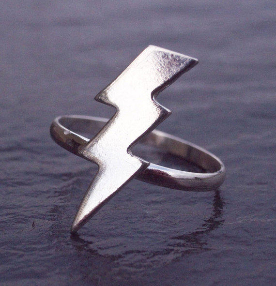 Lightning Bolt Ring Sterling Silver Silver Lightning Ring by Scape