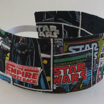 Star Wars Headband / Comic Book Hair Accessories / Reversible Fabric Head Band