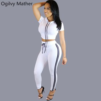 Casual 2 piece set women 2017 Summer tracksuit for women Two piece set Hooded crop top+Long Pants Contrast Stitching Costumes