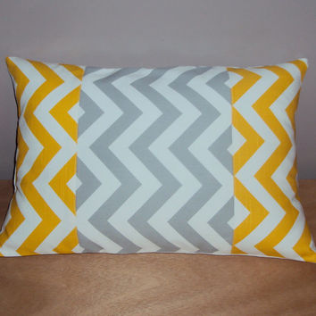 18x12 Decorative Lumbar Pillow Cover In Yellow and Gray Chevron Zig Zag Fabric