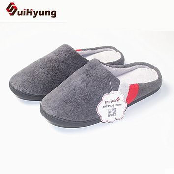 Winter New Men's Cotton Slippers Quality Coral Velvet Warm Indoor Shoes Non-slip Soft Bottom Shoes Home Floor Slippers Big Size